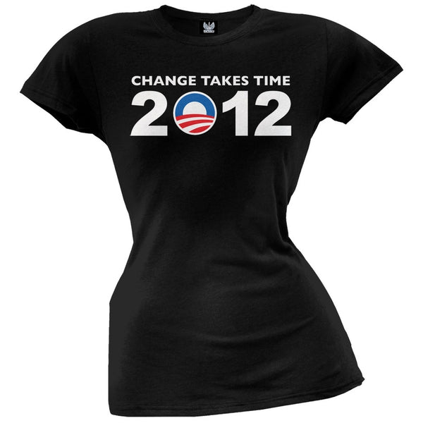 Obama - 2012 Change Takes Time Grey Juniors T-Shirt