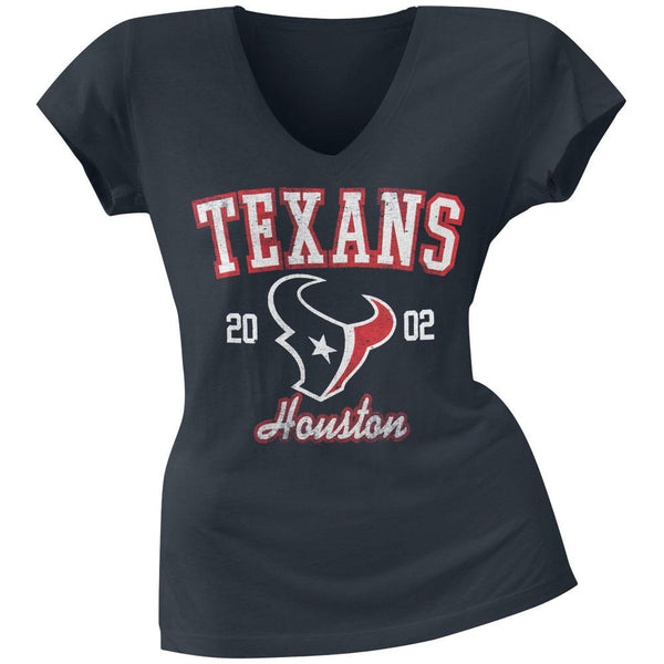 Houston Texans - Flanker Logo Premium Juniors V-Neck T-Shirt