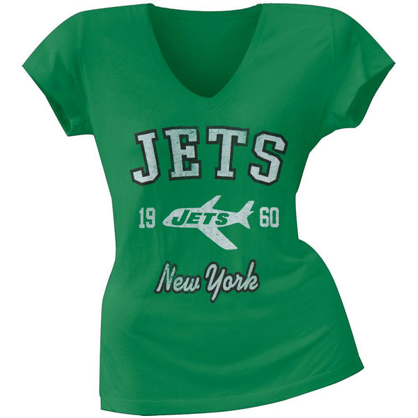 New York Jets - Flanker Logo Premium Juniors V-Neck T-Shirt