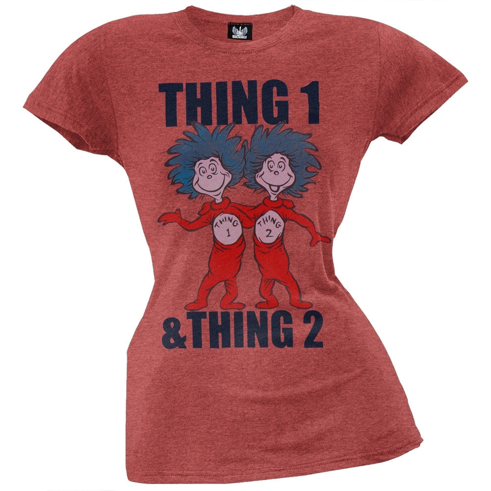 Dr. Seuss - Thing 1 and Thing 2 Juniors T-Shirt – OldGlory.com b26de1a85bea