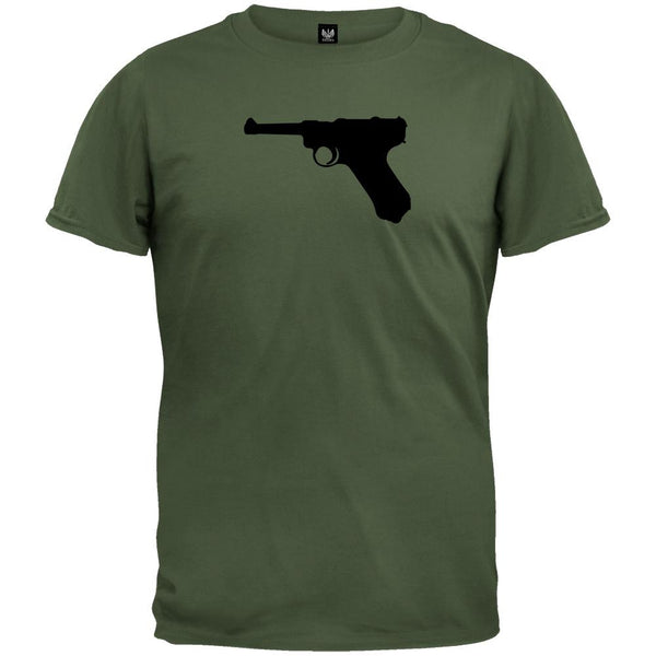 Pistols - Luger Silhouette Military Green T-Shirt