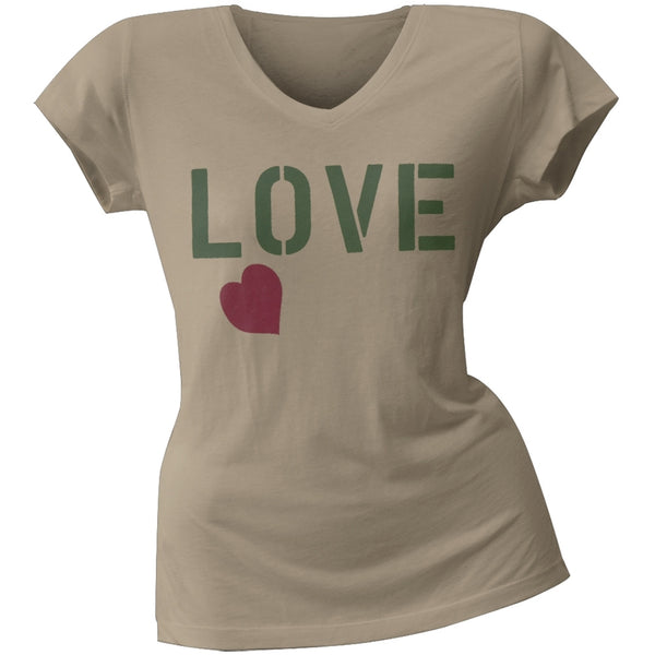 2 Love - Jessica Alba's Love Stencil Heart Junior's V-Neck T-Shirt