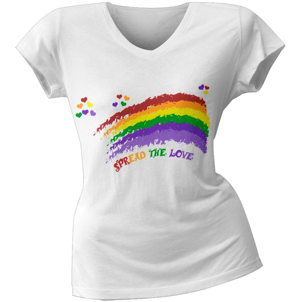 2 Love - Miley Cyrus' Spread the Love Rainbow Junior's V-Neck T-Shirt