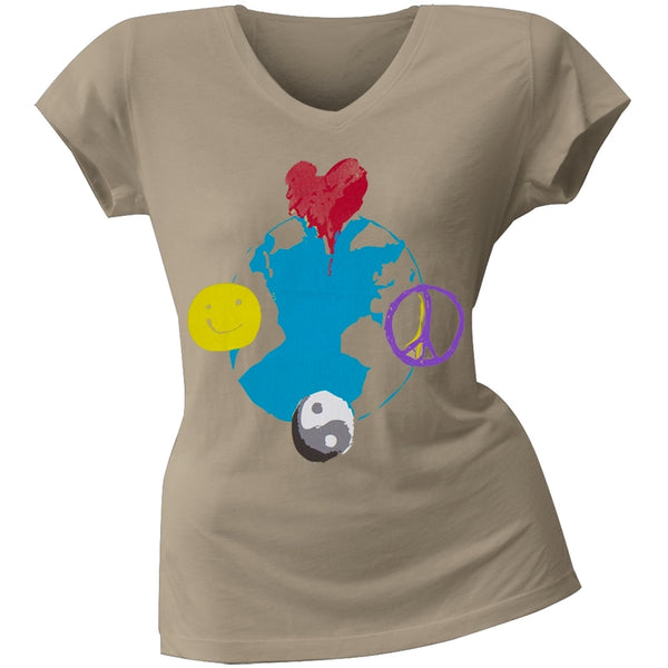 2 Love - AnnaSophia Robb's Earth Junior's V-Neck T-Shirt