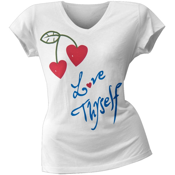 2 Love - Molly Sims' Love Thyself Juniors V-Neck T-Shirt