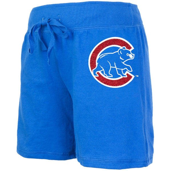 Chicago Cubs - Glitter Logo Girls Youth Drawstring Shorts