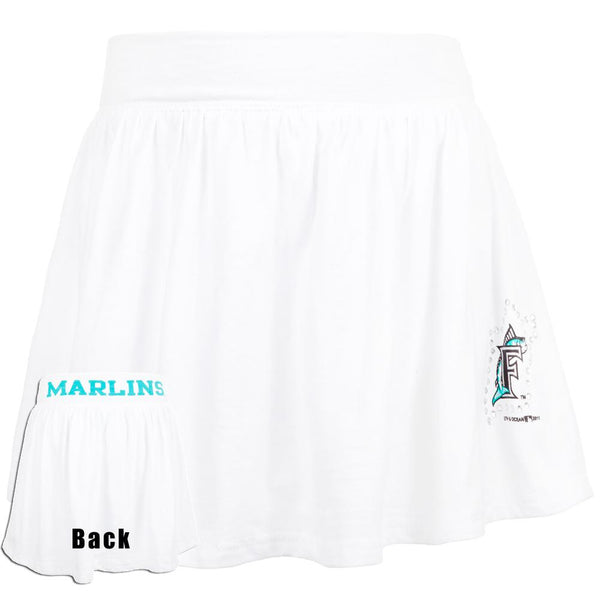 Florida Marlins - Rhinestone Logo Girls Youth Athletic Skort