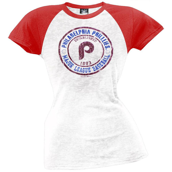 Philadelphia Phillies - Juniors Raglan Burnout T-Shirt