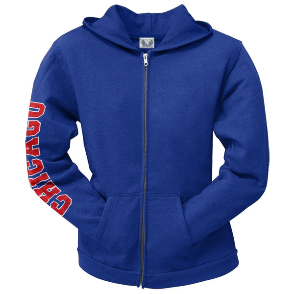 Chicago Cubs - Distressed Logo Juniors Zip Hoodie