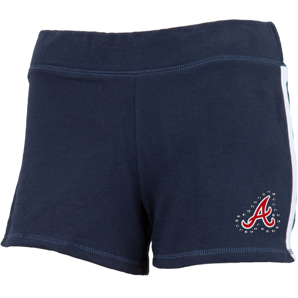 Atlanta Braves - Rhinestone Logo Girls Youth Athletic Shorts