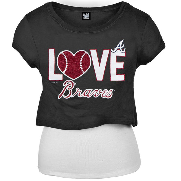 Atlanta Braves - Glitter Love Girls Youth T-Shirt w/Tank