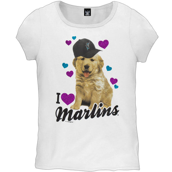 Florida Marlins - I Heart Puppy Girls Youth T-Shirt
