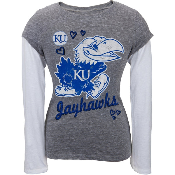 Kansas Jayhawks - Glitter Hearts Girls Youth 2fer Long Sleeve T-Shirt