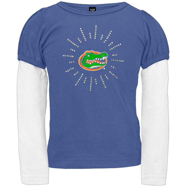 Florida Gators - Rhinestone Ray Logo Girls Juvy 2fer Long Sleeve T-Shirt