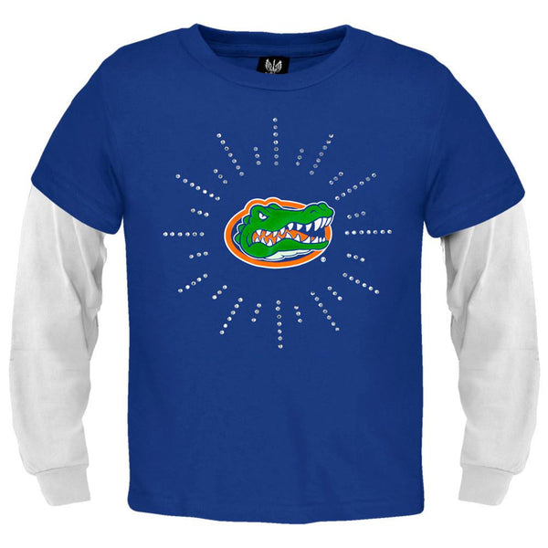 Florida Gators - Rhinestone Ray Logo Girls Youth 2fer Long Sleeve T-Shirt