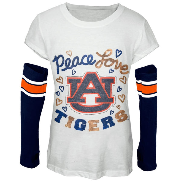 Auburn Tigers - Peace Glitter Logo Girls Juvy T-Shirt w/Detached Sleeves