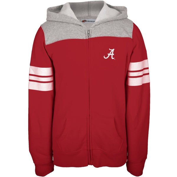 Alabama Crimson Tide - Game Day Sports Stripes Girls Juvy Zip Hoodie