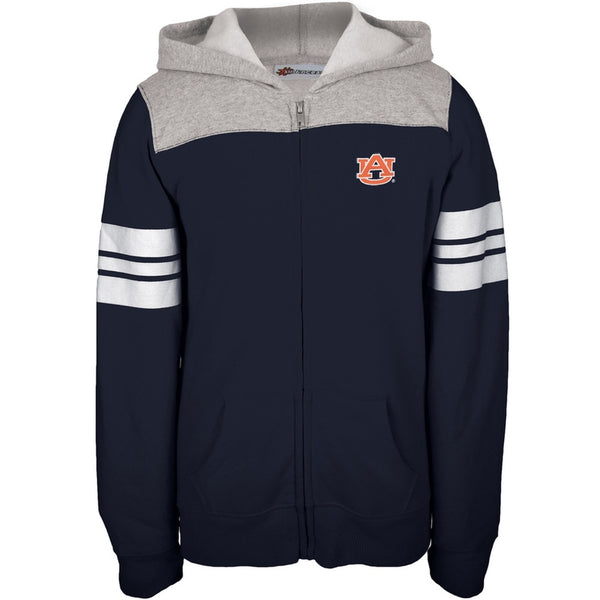 Auburn Tigers - Game Day Sports Stripes Girls Juvy Zip Hoodie