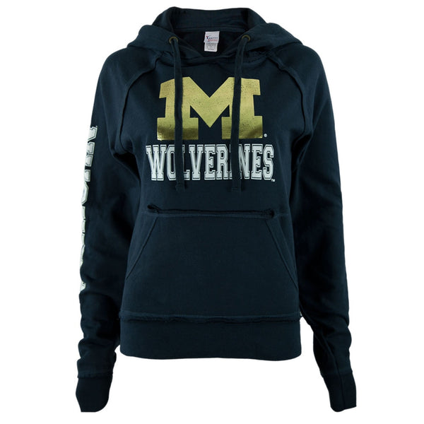 Michigan Wolverines - Foil Logo Juniors Pullover Hoodie