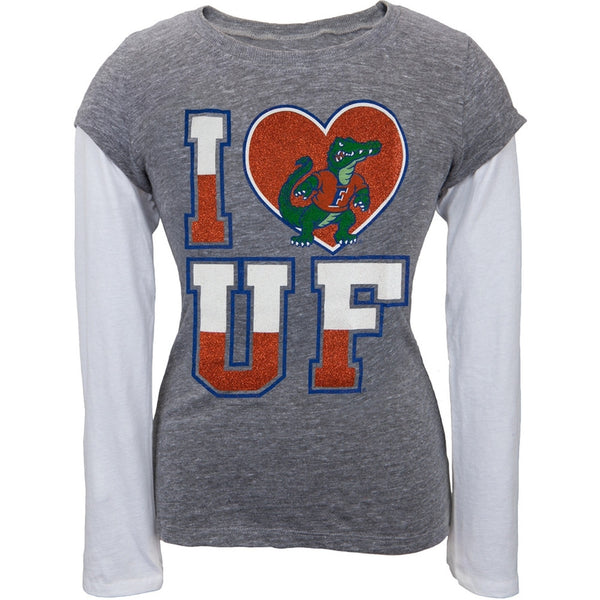 Florida Gators - Glitter I Heart Girls Youth Soft 2fer Long Sleeve T-Shirt