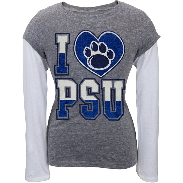 Penn State Nittany Lions - Glitter Heart Girls Youth 2fer Long Sleeve T-Shirt