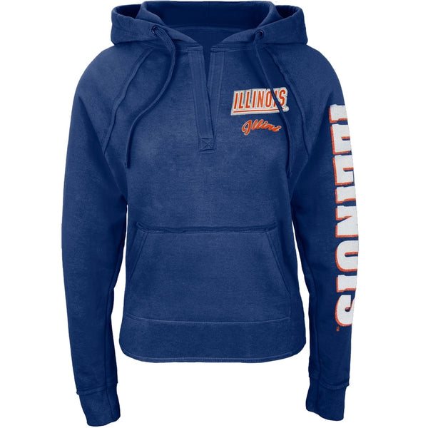 Illinois Fighting Illini - Glitter Team V-Neck Juniors Pullover Hoodie