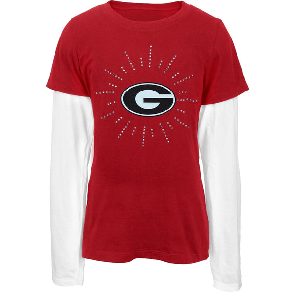 Georgia Bulldogs - Rhinestone Ray Logo Girls Youth 2fer Long Sleeve T-Shirt