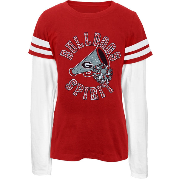 Georgia Bulldogs - Rhinestone Spirit Girls Youth 2Fer Long Sleeve T-Shirt