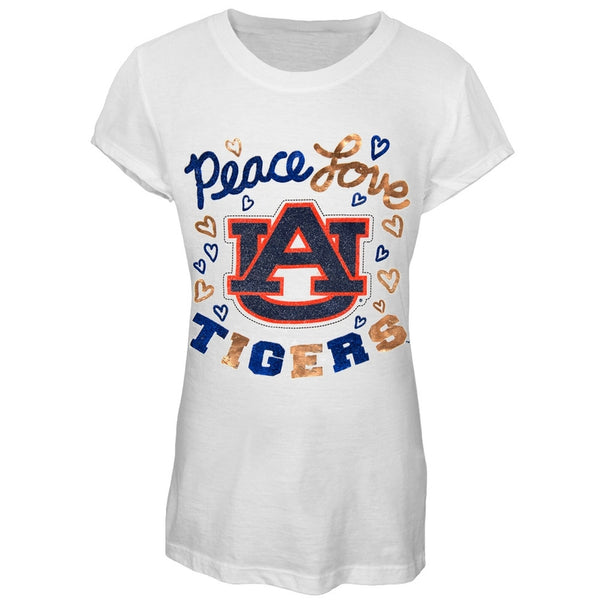 Auburn Tigers - Peace Love Glitter Logo Girls Juvy T-Shirt