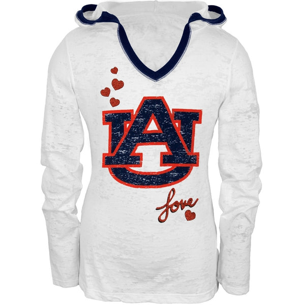 Auburn Tigers - Girls Youth Burnout Hooded Long Sleeve T-Shirt