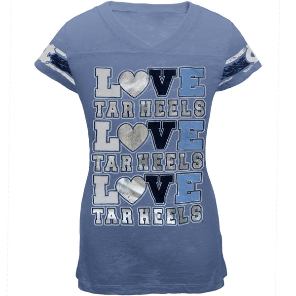 North Carolina Tar Heels - Foil Love Girls Youth Burnout T-Shirt