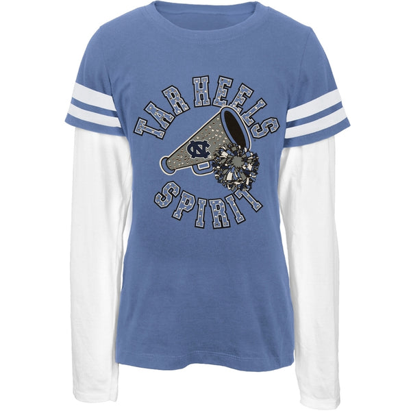 North Carolina - Rhinestone Spirit Girls Juvy 2fer Long Sleeve T-Shirt