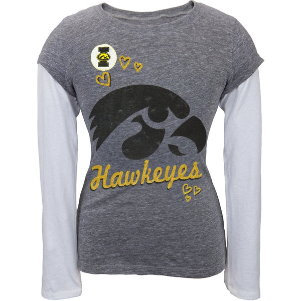 Iowa Hawkeyes - Glitter Hearts Girls Youth 2fer Long Sleeve T-Shirt