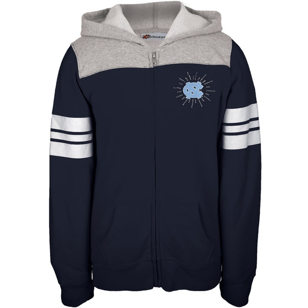 N. Carolina Tar Heels - Rhinestone Rays Logo Girls Youth Zip Hoodie