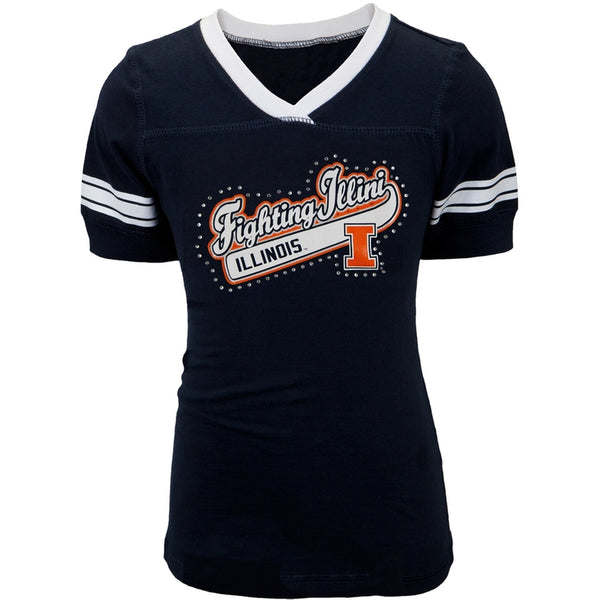 Illinois Fighting Illini - Rhinestone Swoop Logo Girls Youth T-Shirt