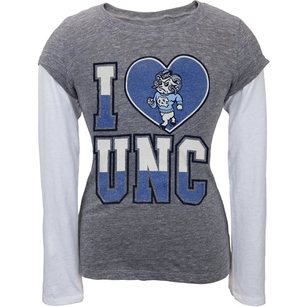 North Carolina Tar Heels - Glitter I Heart Girls Youth 2fer Long Sleeve T-Shirt
