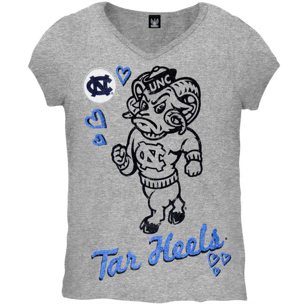 North Carolina Tar Heels - Glitter Heart Girls Juvy T-Shirt