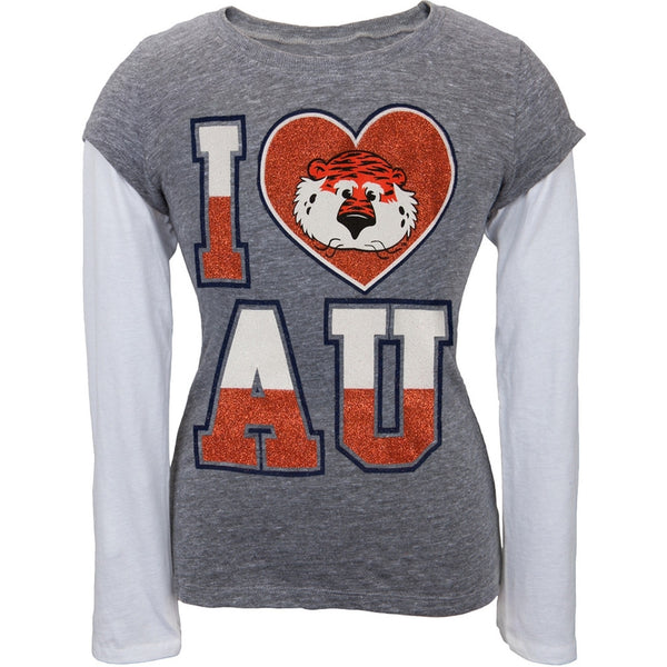 Auburn Tigers - Glitter I Heart Logo Girls Youth 2fer Long Sleeve T-Shirt