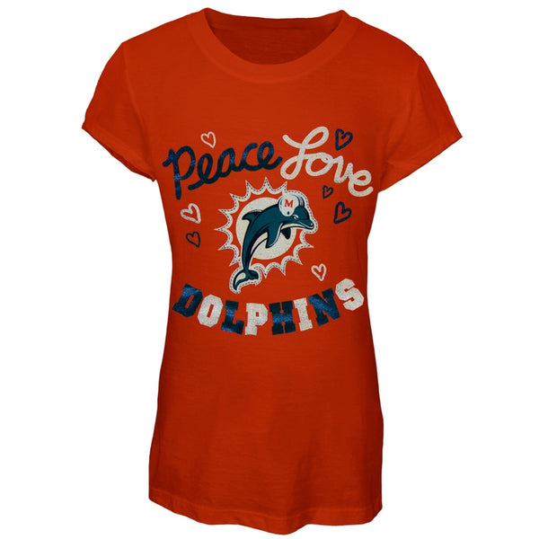 Miami Dolphins - Peace Love Girls Youth T-Shirt