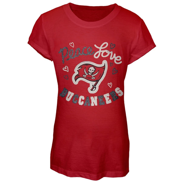 Peace Love Tampa Bay Buccaneers Football Girls T-Shirt - front view