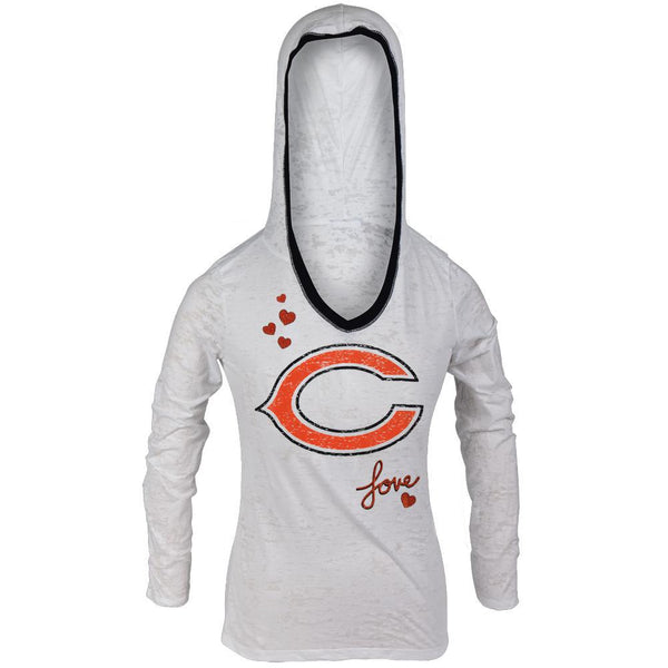 Chicago Bears - Girls Youth Burnout Hooded Long Sleeve T-Shirt