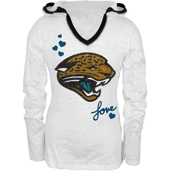 Jacksonville Jaguars - Hearts Girls Youth Burnout Hooded Long Sleeve T-Shirt