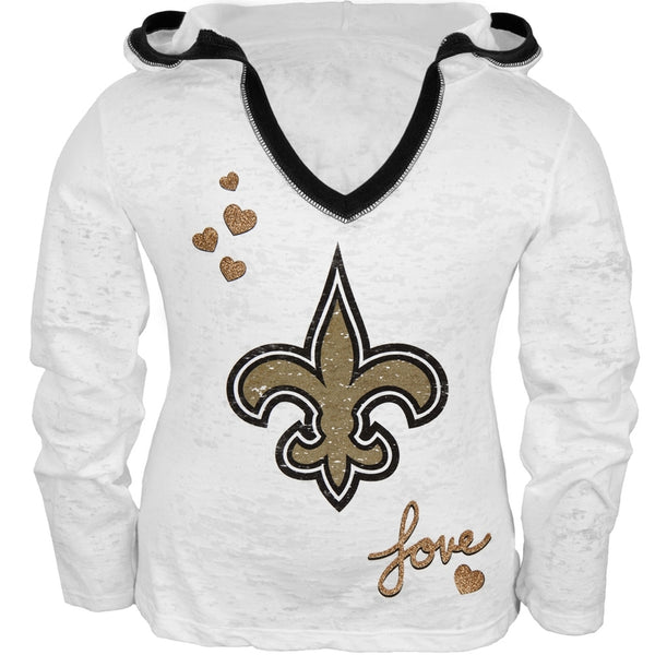 New Orleans Saints - Girls Juvy Burnout Hooded Long Sleeve T-Shirt