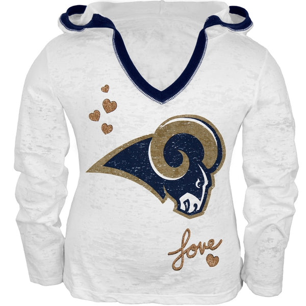 St. Louis Rams - Girls Juvy Burnout Hooded Long Sleeve T-Shirt
