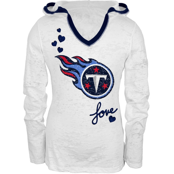 Tennessee Titans - Girls Youth Burnout Hooded Long Sleeve T-Shirt