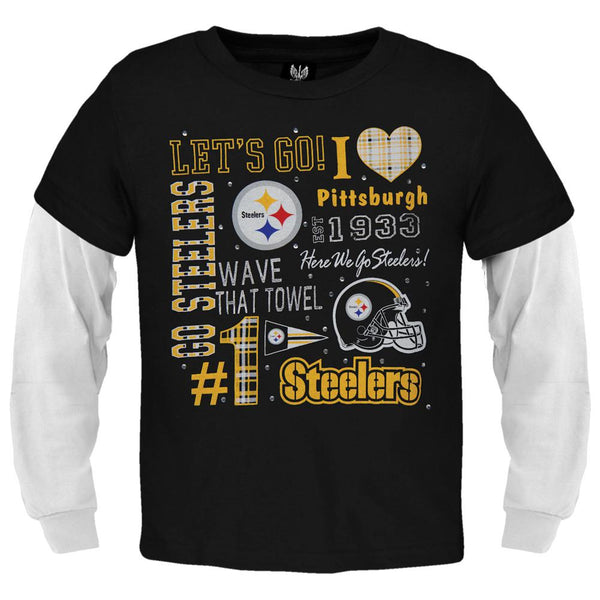 Pittsburgh Steelers - Rhinestone Spirit Girls Youth 2fer Long Sleeve T-Shirt