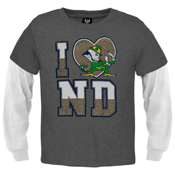 Notre Dame Fighting Irish - Glitter Heart Girls Youth 2fer Long Sleeve T-Shirt