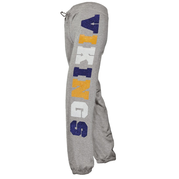 Minnesota Vikings - Glitter Hearts Girls Youth Sweatpants