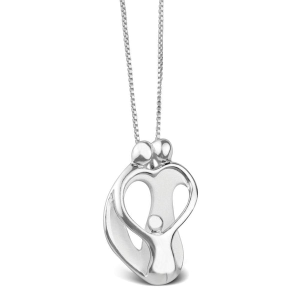 2 Parents and a Child Heart Sterling Silver Gift Necklace