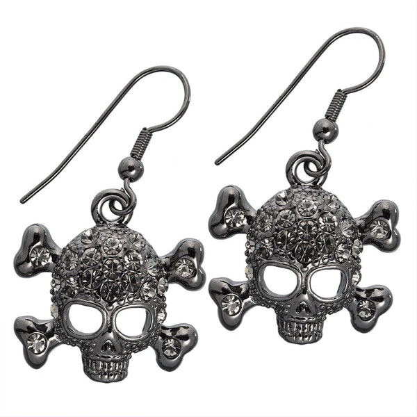 Gemmed Skull & Crossbones Black Dangle Earrings